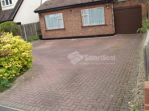 Block paving covered in surface grime